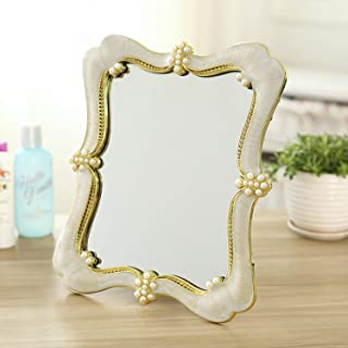 YXZQ Makeup Mirror, European Vintage Single Side Princess Portable Student Dormitory Desk Mirror Beauty Accessories Daily Use