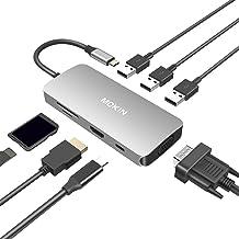USB C Hub,USB C Adapter for MacBook Pro 2019 2018 2017,USB C to HDMI VGA SD TF Card Reader 3USB 3.0 and USB C Power Pass-Through Port