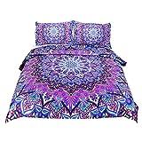 Bohemian Duvet Cover Set, Single Size Stripe Theme Boys Simple Quilt Set Decorative 4 Pcs Boho Bedding with 2 Pillow Case, 140X220cm Table Cloth for Free,Auq 210cmx210cm