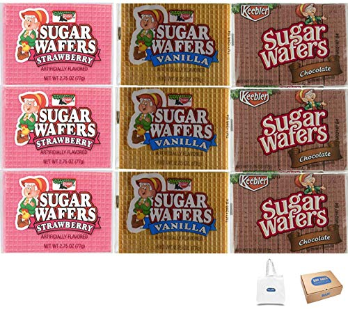 Keebler Sugar Wafers Variety ( Vanilla,Chocolate and Strawberry) 2.75oz.-12 packs in each pack. Shipped and Sold by Bay Area Marketplace (Bay Area Marketplace Tote Bag included with Purchase)