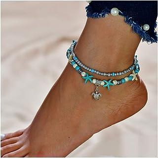 Simsly JL-088 - Cavigliera Boho a forma di tartaruga con stelle marine, accessorio per piede a doppio strato, per donne e ...