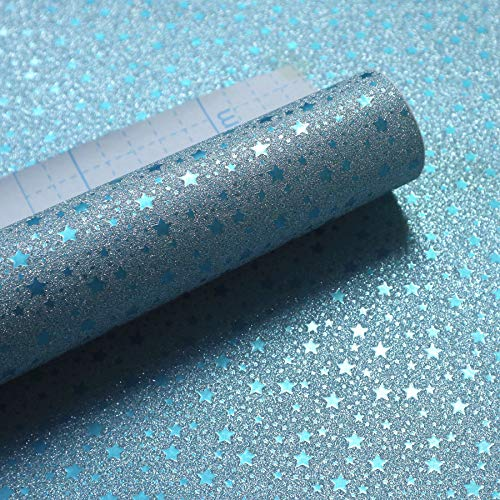 "Glitter Teal Peel and Stick Paper Self Adhesive Gift Wrapping Paper with Grids Lines on Back 17.7""x78.7""/Roll"