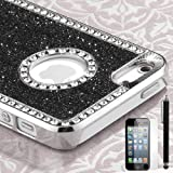 rhinstones bling and black glitter iphone 5 case