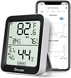 Govee Bluetooth Digital Hygrometer Indoor Thermometer, Room Humidity and Temperature Sensor Gauge with Remote App Monitori...