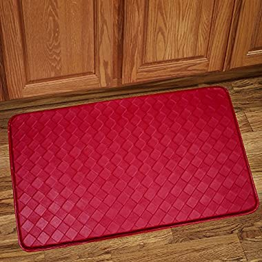 Sweet Home Collection Memory Foam Anti Fatigue Kitchen Floor Mat Rug, Diamond Red, 30  x 18