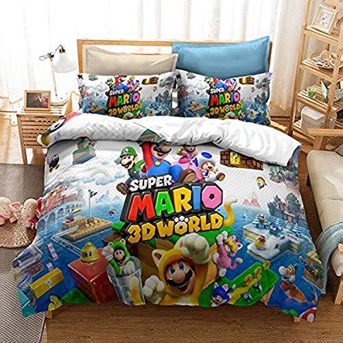 YZHY - Set di biancheria da letto per bambini, 2/3 pezzi, motivo: Anime Mario Cartoon Series, regalo di biancheria da letto per bambini, con chiusura a cerniera nascosta (B,200 x 200)