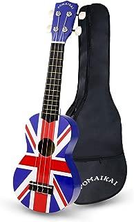 POMAIKAI Soprano Ukulele Beginner Starter Kit 21 Inch Kids Guitar with Gig Bag Wood Ukuleles for Kids Students and Beginners(Union Jack)