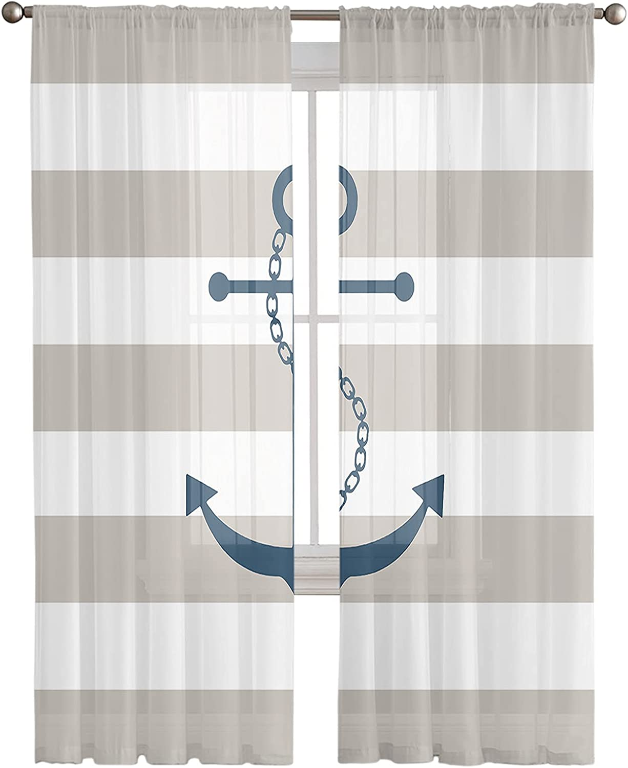 Anchor Sheer Curtains 2 Panels Light Selling and selling Animer and price revision Privacy Filtering Curtain