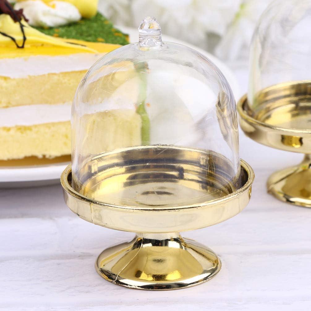 cloche en verre d/écoration de table d/'anniversaire bonbonni/ère de mariage Plastique 8 * 5 NUOBESTY Lot de 12 cloches /à g/âteau avec cloche /à fromage argent/é mini pr/ésentoir /à g/âteaux