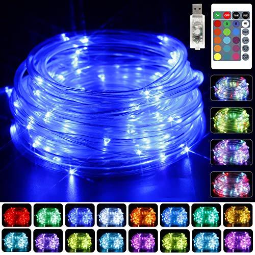 KNONEW 100 luci LED a corda verde blu viola ect 16 che cambiano arcobaleno 9,99 m per interni ed esterni luci USB alimentate multi-colore Twinkle Tube luci con telecomando per Halloween Natale vacanze