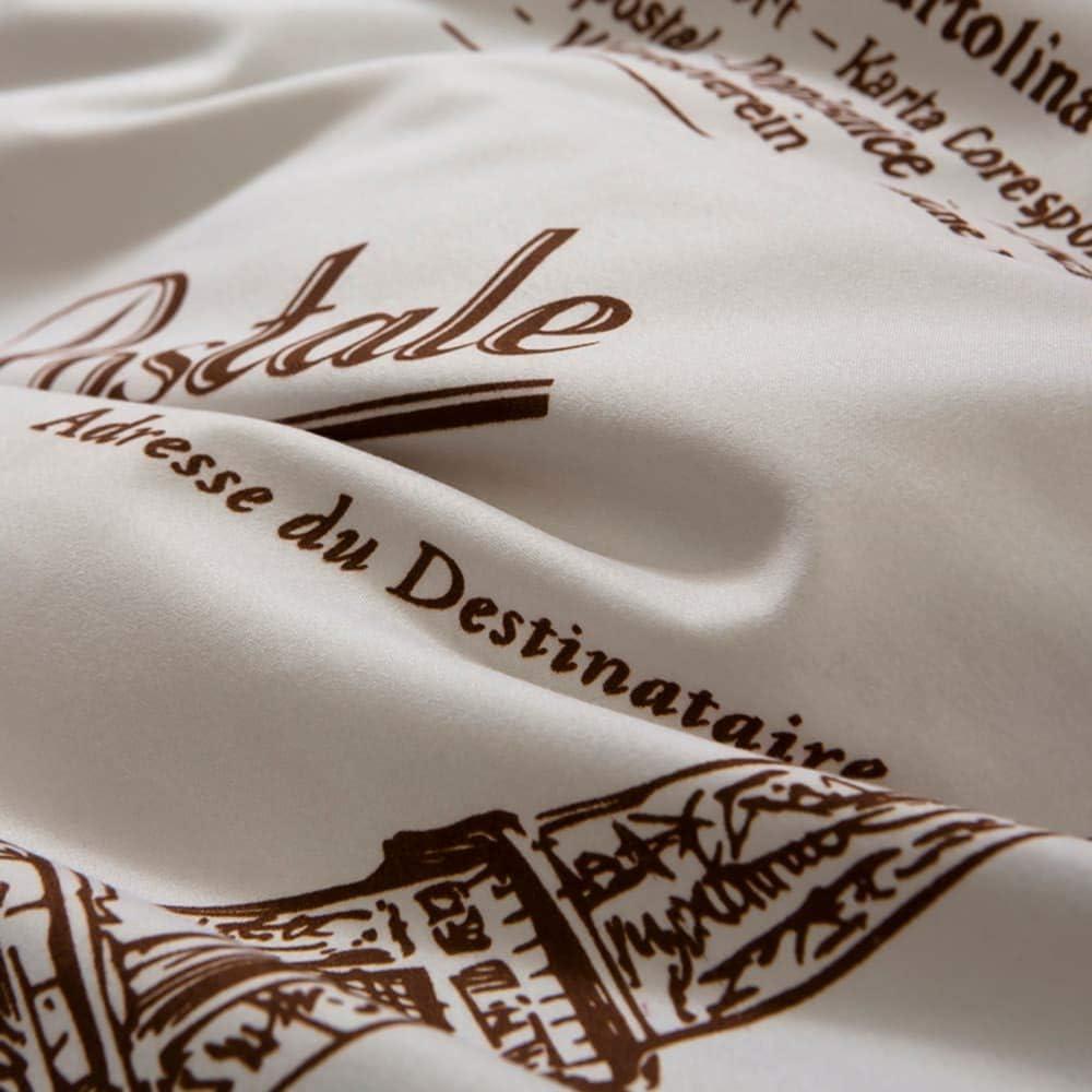 Mengersi Eiffel Duvet Cover Set Tower Bedding Set with Zipper Paris Print Comforter Cover Full, Coffee