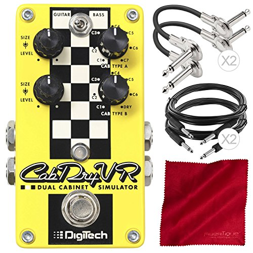 DigiTech CabDryVR Dual Cabinet Simulator Pedal for Electric Guitar Assorted Cables Basic Bundle