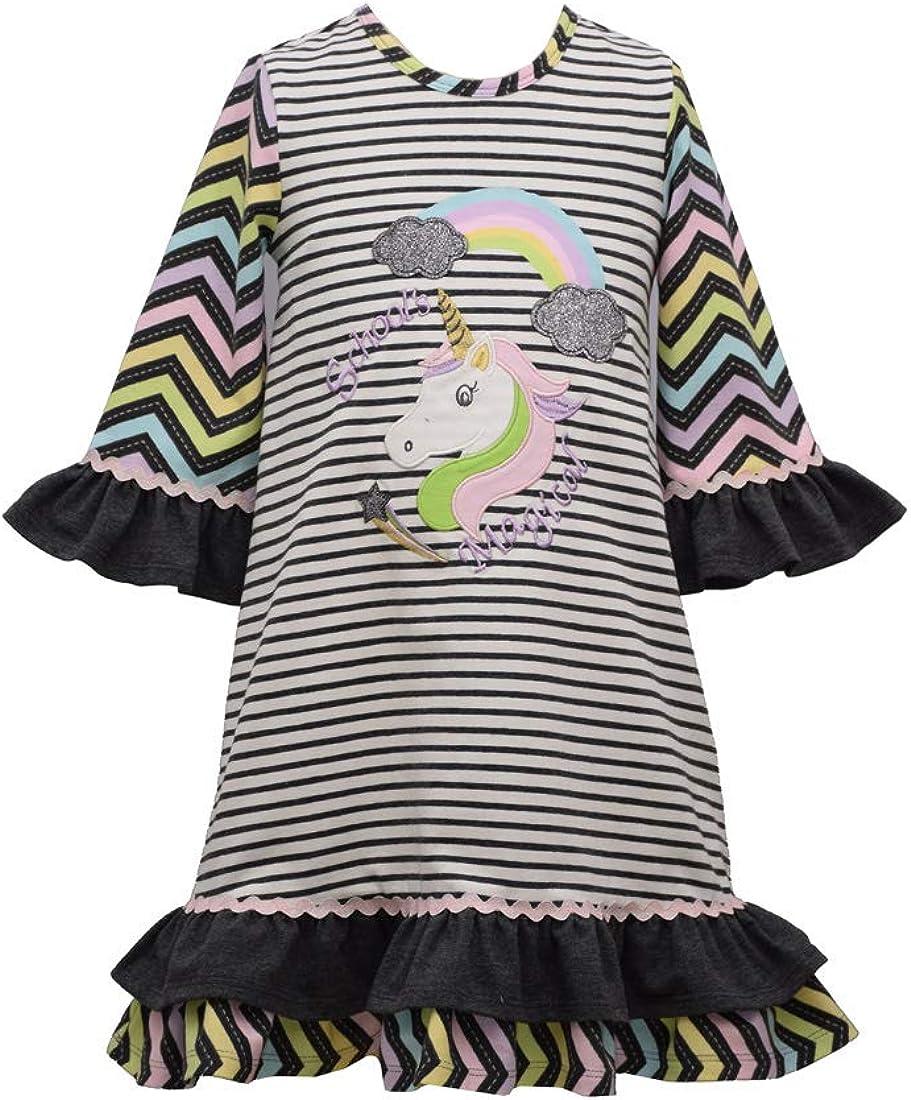 Bonnie Jean Girls Back to School Grey Rainbow Unicorn Dress