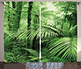 Waple Cortinas opacas ojete para sala de estar Cortinas de selva, palmeras de...
