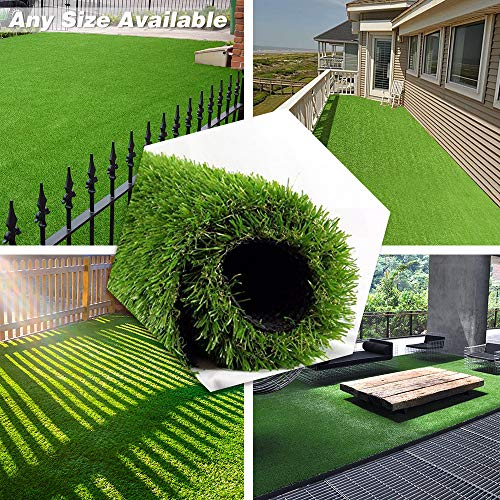 Deluxe Realistic Artificial Grass Turf 4FTX10FT, 70 oz Face Weight/Drainage Holes/Rubber Backing, Indoor Outdoor Pet Faux Synthetic Grass Astro Rug Carpet for Garden Backyard Patio Balcony
