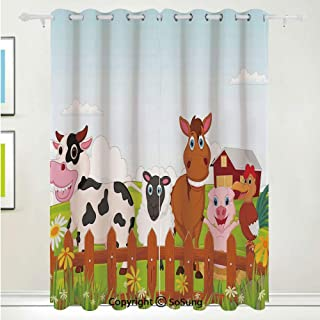 Animal Grommet Blackout Window,Cute Farm Creatures with Cow Horse Goat Pig and Chicken by The Fences Kids Cartoon,for Bedroom&Living Room&Patio Sliding Doors,2 Panels Set,108 X 84 Inches,Multicolor