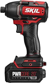 SKIL PWRCore 20 Brushless 20V 1/4 Inch Hex Impact Driver, Includes 2.0Ah Lithium Battery and PWRJump Charger - ID573902