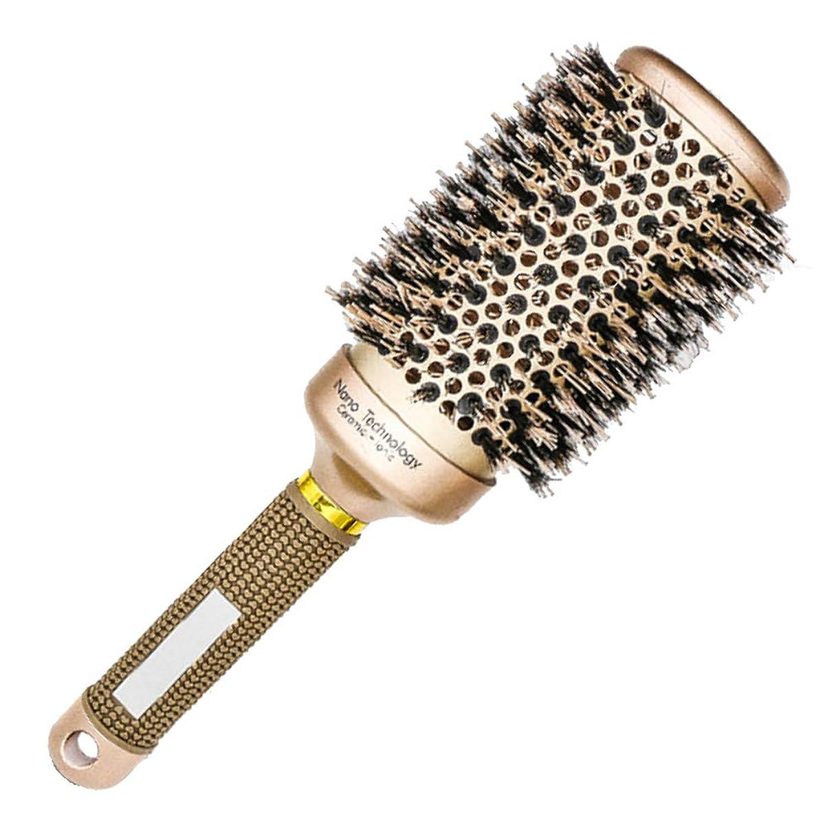 聖域よろしく委任する57 VENTO スタイリング ロールヘアブラシ 天然毛 & ナイロン毛 セラミック バレル ナノテクノロジー (# 53 mm)