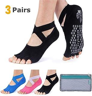 Calcetines de yoga para mujer con agarre y antideslizante sin dedos de los pies para ballet, pilates, baile