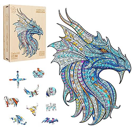 OTAKUKID® - Puzzle de madera de animales - Puzzles de dragón- Juego de puzzle para adultos y niños - Idea de regalo - 180 piezas M Tamaño 24,8 cm X 35 cm