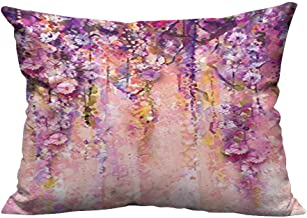 YouXianHome Zippered Pillow Covers Wisteria Tree in Blossom Romantic Flowers Over Bokeh Picture Print Peach Decorative Couch(Double-Sided Printing) 19.5x60 inch