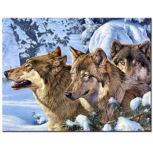 Animal Full Diamond Diamond Painting Snow Wolf Picture 5D DIY Diamond Embroidery For Sale Diamond Mosaic Cross Stitch Square 40x50cm