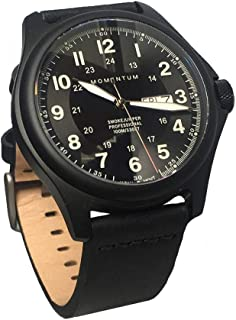 Men's Smokejumper Field Watch - Black Dial | Water Resistant, Screw Crown, Black-Ion Plated Titanium, Leather Strap, No Scratch Sapphire Crystal | Easy to Read Face