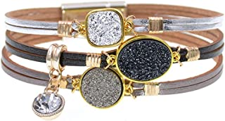 Jiuyuan Unisex Crystal Beads Charms Bracelets Bangles Multiple Layers Leather Party Jewelry