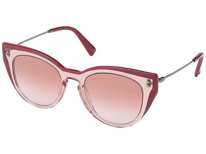 Valentino 0VA4051 (Pink Transparent/Gradient Pink) Fashion Sunglasses
