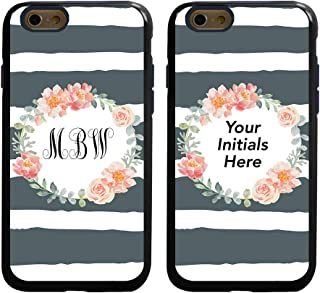 Striped Floral Custom Monogram Case for iPhone 6 / 6s by Guard Dog - Personalized - Put Your Initials on a Protective Hybrid Case - Includes Screen Protector (Black with Dark Blue Silicone)