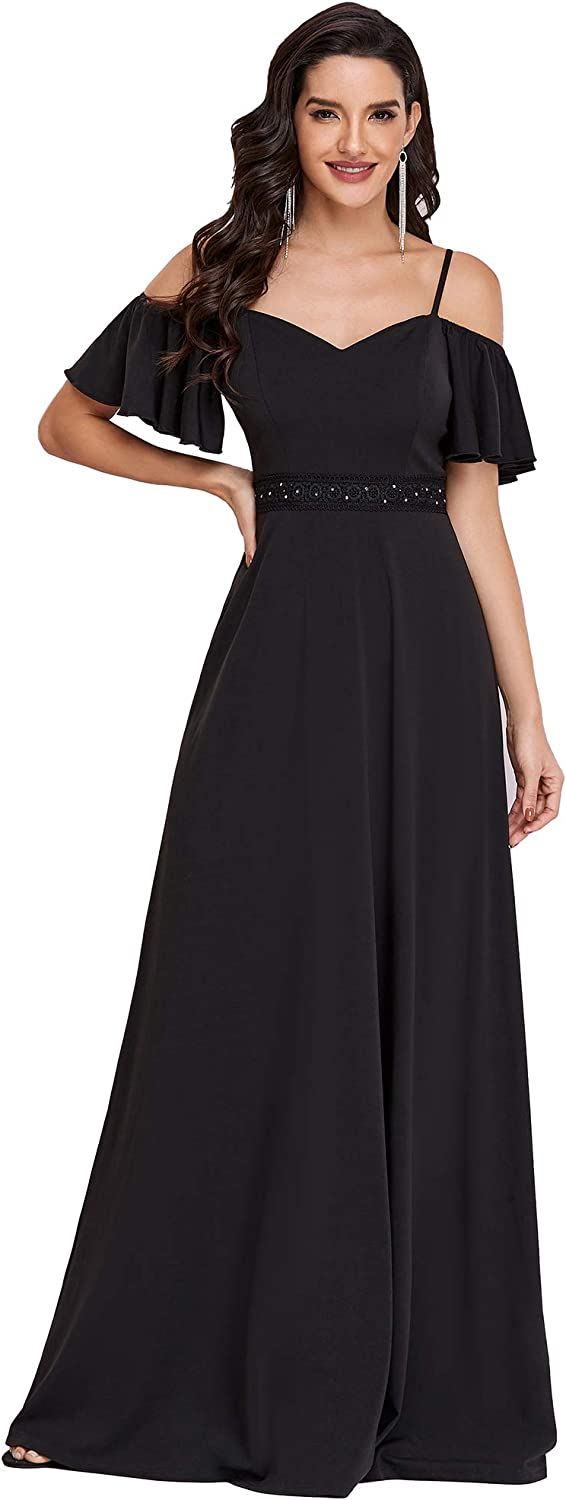 Ever-Pretty Women Off The Shoulder Flare Sleeve A Line Maxi Formal Dress 0257