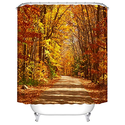 Hibbent Duschvorhang Anti-Schimmel Waschbar 180x180 cm 12 Duschvorhangringen-Herbst Goldene Blätter