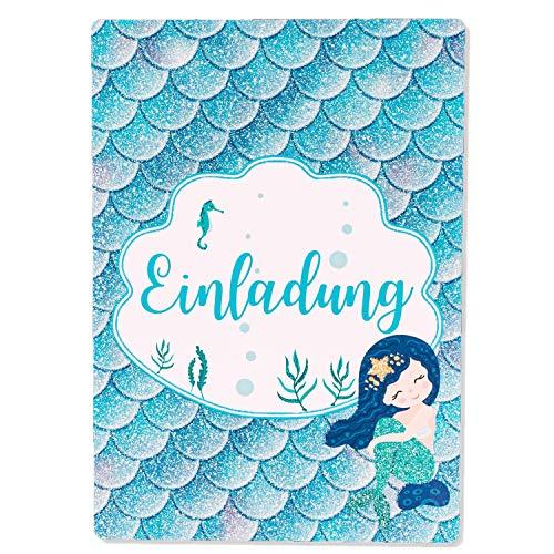 Gentle North 15 x Meerjungfrau Glitzer Einladungskarten Geburtstag Kinder - Größe A6 - Coole Einladung zum Kindergeburtstag für Mädchen und Jungen - Witzige Einladungskarte