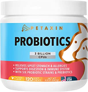 Petaxin Probiotics for Dogs - 6 Strains with Prebiotics - Supports Digestion and Immune System - Relieves Diarrhea, Upset Stomach, Allergies, Gas, Constipation, Bad Breath - Made in USA - 120 Chews