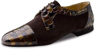Werner Kern Zapatos de baile para hombre 28049, piel de ante y charol marrón, normal, tacón de 1,5 cm, fabricados en Italia