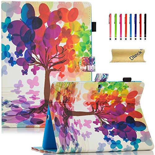 T800 Fall, Galaxy Tab S 10.5 Fall, dteck Slim Fit Colorful Stylisches Flip Ständer PU Leder Wallet Case mit Auto Sleep/Wake Smart Cover für Samsung Galaxy Tab S 26,7 cm SM-T800, A_Butterfly Tree