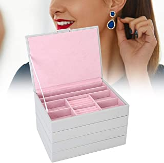 TMISHION Grande boîte à Bijoux pour Femmes, empilable 4 étages Organisateur boîte boîte de Rangement de Bijoux Boucles d'o...