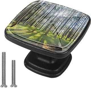 Green Forest Trees - Tirador de cristal para armario