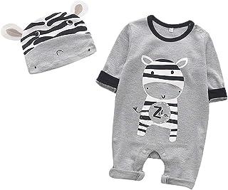 Lukame Baby Strampler Junge Mädchen Töchterlingsbaby Langarm Karikatur Tiere Kaninchen Tiger Löwe Zebra Panda Gestreiften Dot Spielanzug Overall Und Hut Kleidung Set
