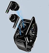 PADY-Wearable Technology M7 2 in 1 Smart Bracelet Wireless Bluetooth Headset Combo Running Music مچ بند هدفون ضربان قلب فشار خون ردیاب تناسب اندام (سیاه)