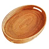Oval Rattan X-Large Severing Tray for Fruit,Breakfast, Drinks,Food Storage Platters Plate Snack for Coffee Table(XL-38cm)