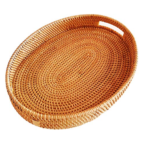 Oval Rattan X-Large Severing Tray for FruitBreakfast DrinksFood Storage Platters Plate Snack for Coffee Table(XL-38cm)