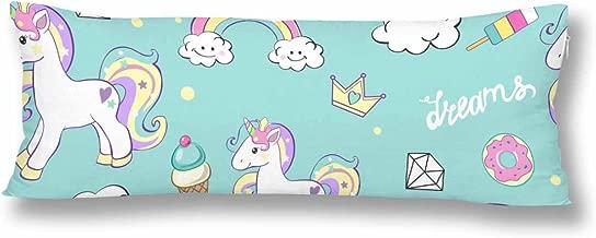 InterestPrint Custom Beautiful Unicorns With Diamond Ice Cream And Clouds Body Pillow Covers Pillowcase Throw Pillows 21