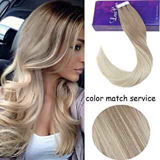 [Popular]LaaVoo 20inch Secret Tape in Human Hair Extensions in Balayage Salon Color Ash Blonde Fading to Platinum Blonde No Yellowish Can Be Dyed Invisible Double Side Tape on Hair 40g+10g 20pcs