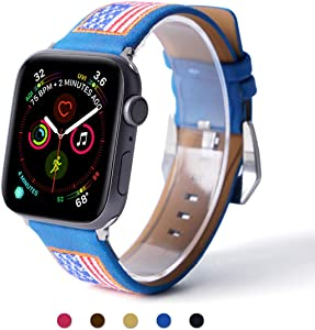ARTCHE Leather USA Flag Embroidery Watch Band for Apple Watch 40mm 38mm Replacement Strap American Flags Embroidered Stars Stripes Wristband Belt, Compatible with iWatch Series SE/1/2/3/4/5/6, Blue