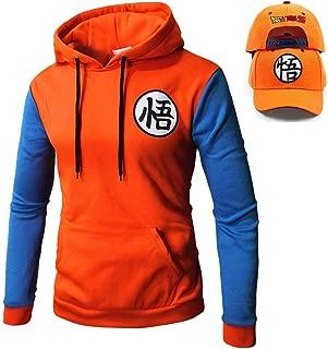 Unisex Men's Dragon Ball Z Goku Pullover Hoodie Sweatshirt Costume, Free Baseball Cap
