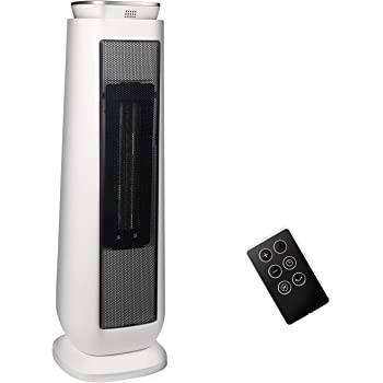 PELONIS PHTPU1501 Ceramic Tower 1500W Indoor Space Heater with Oscillation, Remote Control, Programmable Thermostat & 8H Timer, ECO Mode, Tip-Over Switch & Overheating Protection. White