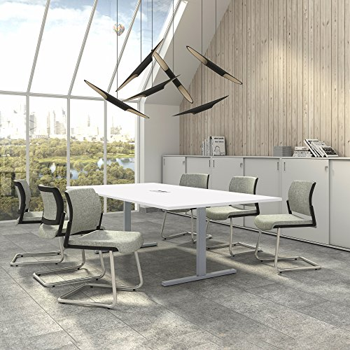 Easy Konferenztisch 240x120 cm Weiß mit ELEKTRIFIZIERUNG Besprechungstisch Tisch, Gestellfarbe:Silber