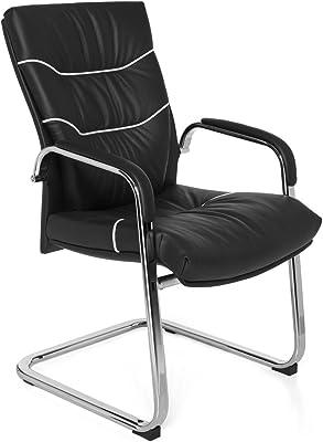 Silla cantilever Ferrol funda de piel auténtica negro, Oscilante de diseño – Silla silla con