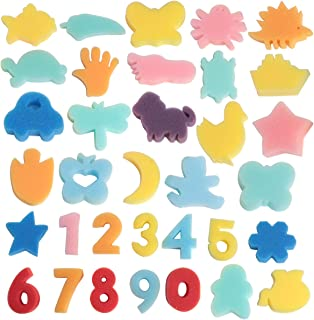 SBYURE 34 Pcs Sponge Painting Shapes Animal Shapes Painting Craft Sponge Multicolor Foam Painting Stamps Assorted Sponge Brush Set Painting Drawing Tools for Kids